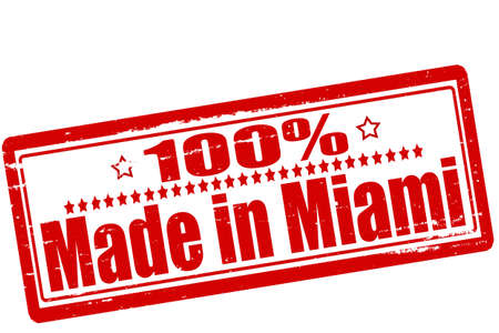 Rubber stamps with text one hundred percent made in Miami inside, vector illustration Vector