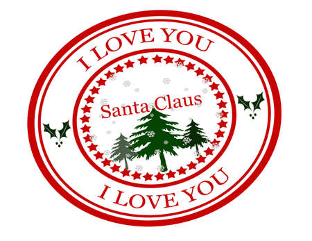 fondness: Rubber stamps with text i love you Santa Claus inside, vector illustration Illustration