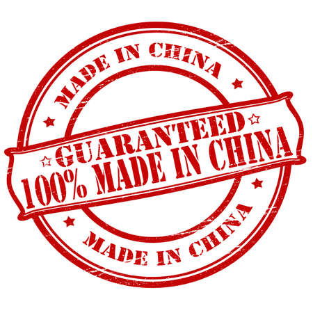 Rubber stamps with text one hundred percent made in China inside, vector illustration Illustration
