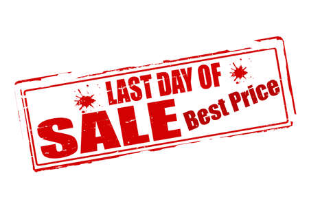 Stempels met tekst laatste dag verkoop binnen, vector illustratie Stock Illustratie