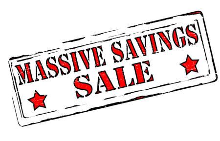 thrift: Sellos de goma con el texto masivos ahorro interior, ilustraci�n vectorial