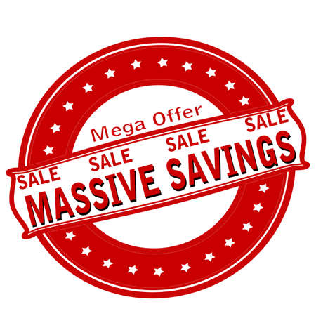 massive: Rubber stamp with text massive savings inside