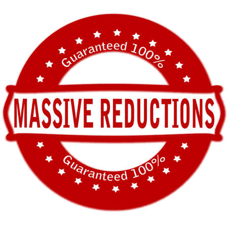 massy: Rubber stamp with text massive reductions inside