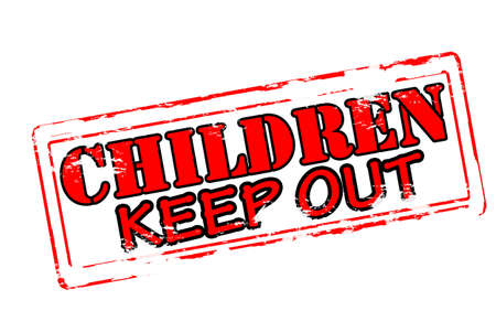 해외로: Rubber stamp with text children keep out inside, vector illustration 일러스트