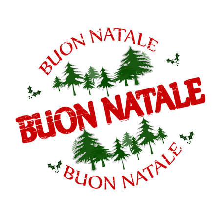 christmas symbols: Rubber stamp with text  Merry Christmas in Italian language inside, vector illustration Illustration