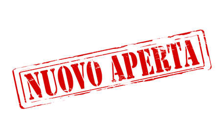 guileless: Rubber stamp with text new open in Italian language inside, vector illustration Illustration
