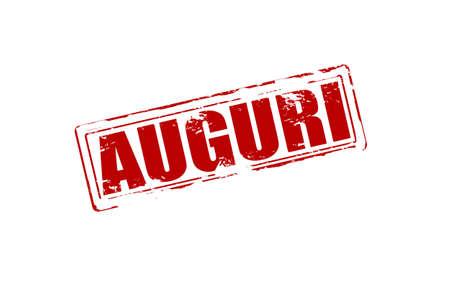 Timbro di gomma con il testo auguri in lingua italiana dentro, illustrazione vettoriale Archivio Fotografico - 34144930