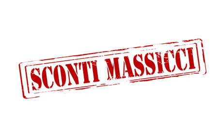 massy: Rubber stamp with text massive discounts in Italian language inside, vector illustration