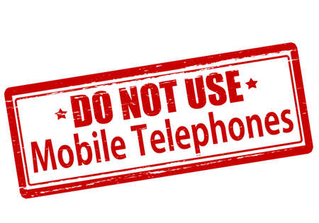 mobiele telefoons: Rubber stamp with text do not use mobile telephones inside, vector illustration`