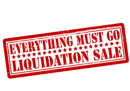 Rubber stamp with text everything must go liquidation sale inside, vector illustration  イラスト・ベクター素材