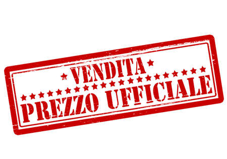 authoritative: Rubber stamp with text official price in Italian language inside, vector illustration