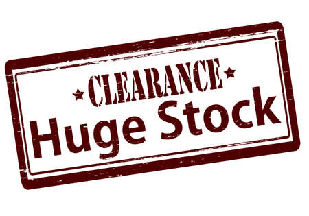 clearing: Rubber stamp with text huge stock clearance inside, vector illustration