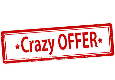 lunatic: Rubber stamp with text crazy offer inside, vector illustration
