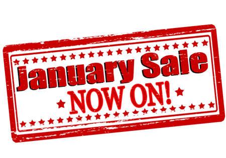 enero: Sello de goma con el texto venta enero interior, ilustración vectorial Vectores