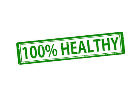 Rubber stamp with text one hundred percent healthy inside, vector illustration