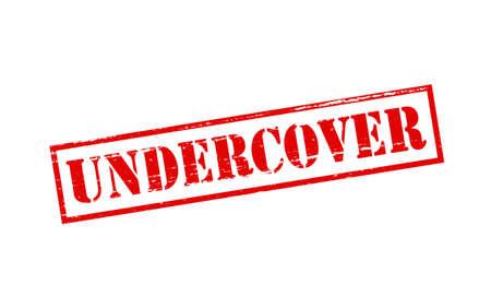 Rubberen stempel met woord undercover binnen, vector illustratie