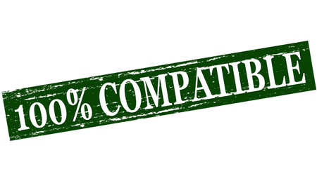 compatible: tampon en caoutchouc avec l'int�rieur compatible texte cent pour cent, illustration vectorielle