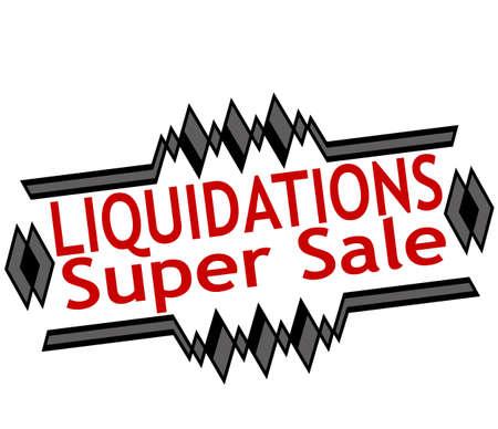 liquidation: Rubber stamp with text liquidations super sale inside, vector illustration Illustration