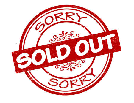sorry: Rubber stamp with text sold out inside, vector illustration
