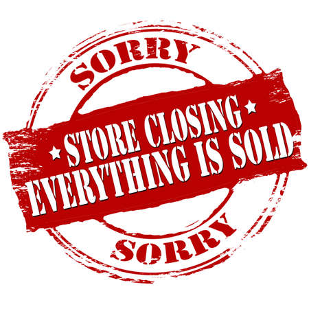 closure: Rubber stamp with text store closing inside, vector illustration