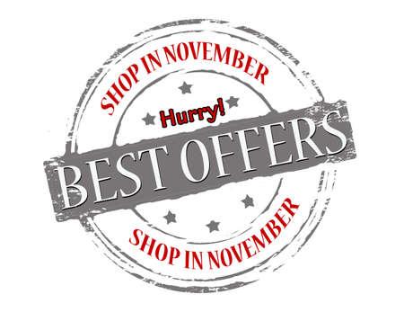 shop tender: Rubber stamp with text best offers inside, vector illustration Illustration