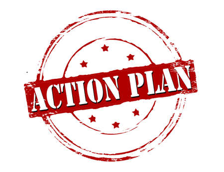 Rubber stamp with text action plan inside