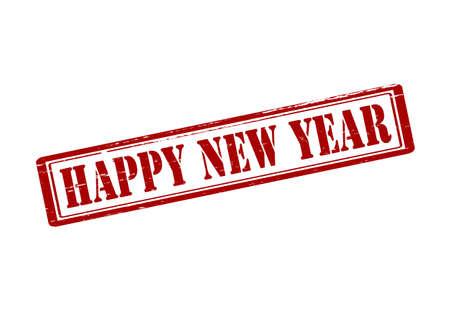 happy new year stamp: Sello de goma con el texto feliz a�o nuevo en el interior, ilustraci�n vectorial Vectores