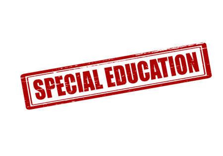 special education: Sello de goma con el interior de la educaci�n especial de texto, ilustraci�n vectorial