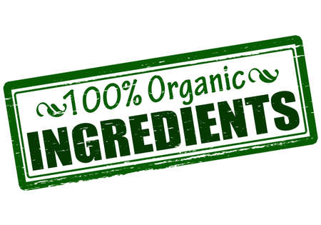 admixture: Rubber stamp with text one hundred percent organic ingredients inside, vector illustration