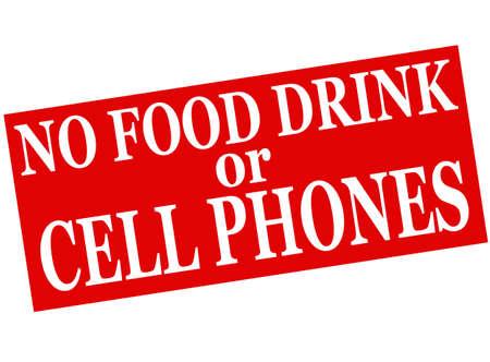 no cell: Sello de goma con el texto No Bebe alimentos o los tel�fonos celulares en el interior, ilustraci�n vectorial
