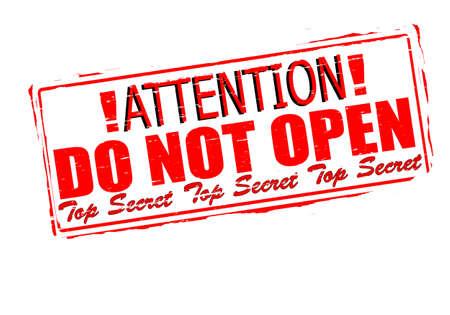 not open: Timbro di gomma con attenzione il testo non aprire dentro, illustrazione vettoriale