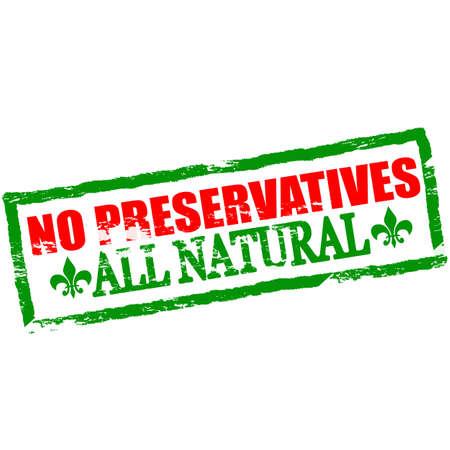 preservatives: Sello de goma con texto sin conservantes interior, ilustraci�n vectorial