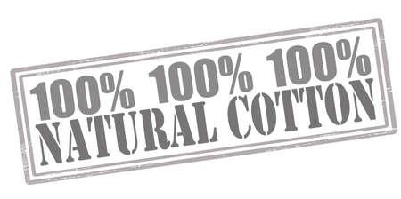 acolchado: Sello de goma con el texto de algod�n natural interior, ilustraci�n vectorial