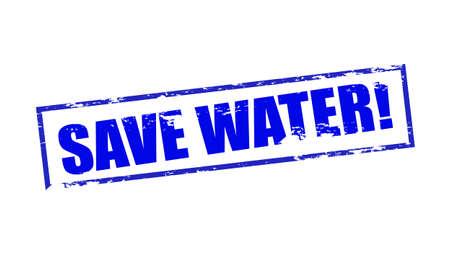 superviser: Rubber stamp sauver avec le texte � l'int�rieur de l'eau, illustration vectorielle
