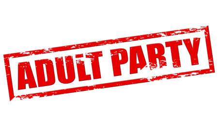 Rubber stamp with text adult party inside, vector illustration Ilustração