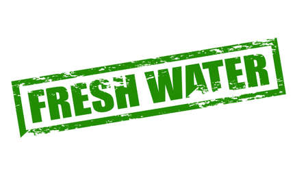 and bracing: Rubber stamp with text fresh water inside, vector illustration