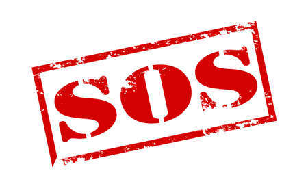 Rubber stamp with text SOS inside, vector illustration Vettoriali