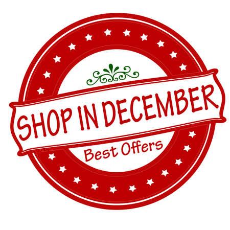 shop tender: Rubber stamp with text shop in December inside, vector illustration Illustration
