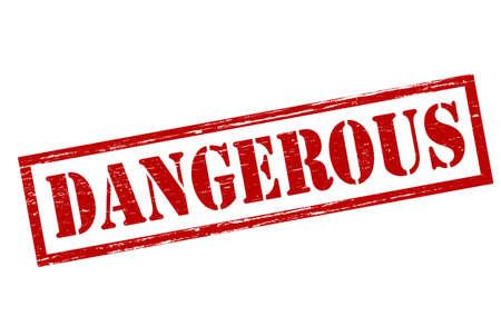 perilous: Rubber stamp with word dangerous inside, vector illustration Illustration