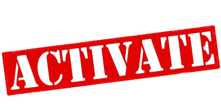 activate: Rubber stamp with word activate inside, vector illustration
