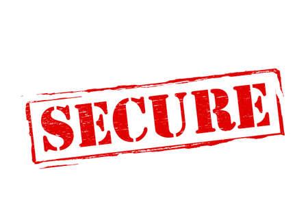 assure: Stamp with word secure inside, vector illustration Illustration