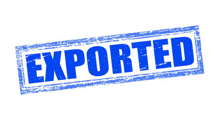 exported: Stamp with word exported inside, vector illustration Illustration