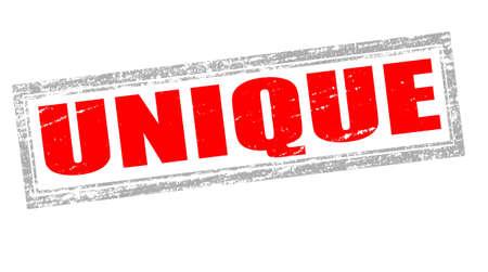 singular: Stamp with word unique inside, vector illustration