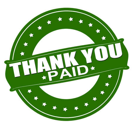 received: Stamp with text thank you paid inside, vector illustration Illustration