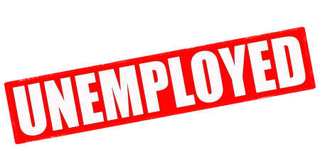 jobless: Stamp with word unemployed inside, vector illustration