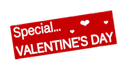 peculiar: Stamp with text special Valentine day inside, vector illustration