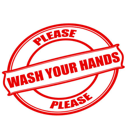 Stamp with text please wash your hands inside, vector illustration Illustration