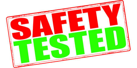 surety: Stamp with text safety tested inside, vector illustration Illustration