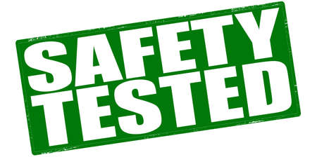 Stamp with text safety tested inside, vector illustration Illustration