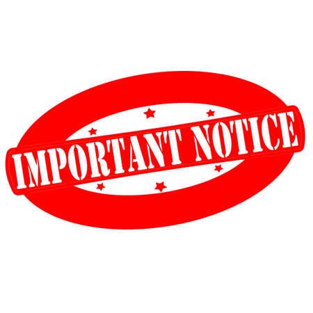 avviso importante: Timbro con testo importante preavviso dentro, illustrazione vettoriale Vettoriali